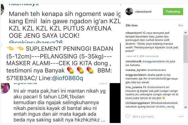 spam instagram ridwan kamil